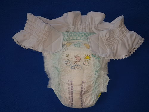 diaper belt size S, for baby diapers with magic tape, white